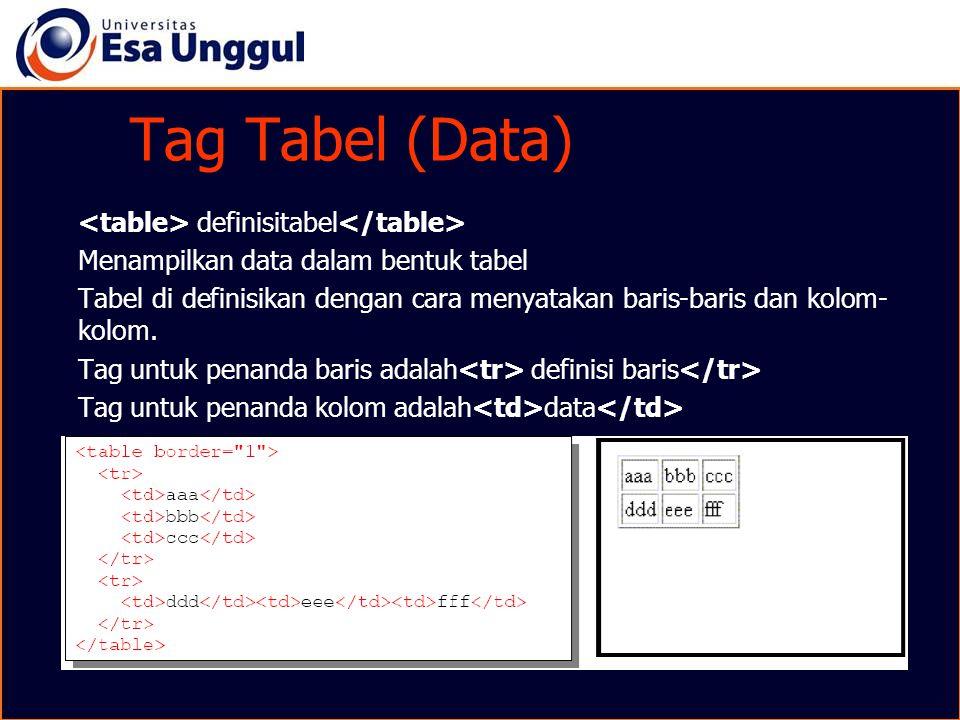 Tag Tabel (Data) definisitabel Menampilkan data dalam bentuk tabel Tabel di definisikan dengan cara menyatakan baris-baris dan kolom- kolom. Tag untuk