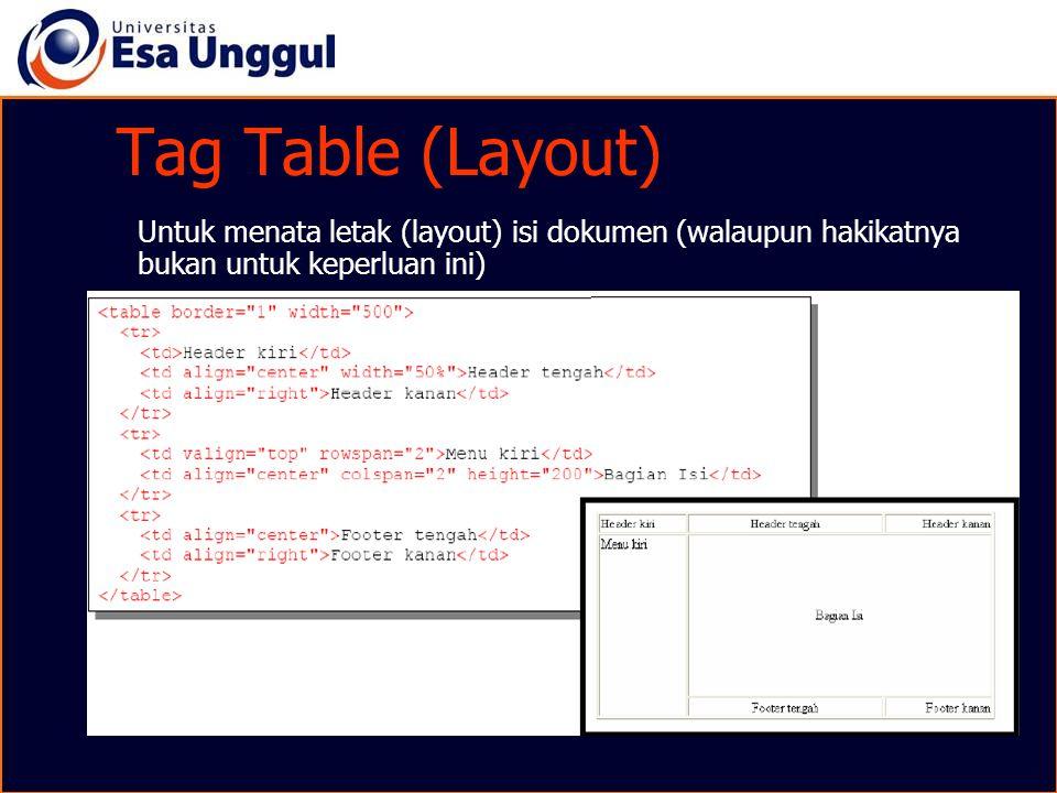 Tag Table (Layout) Untuk menata letak (layout) isi dokumen (walaupun hakikatnya bukan untuk keperluan ini)