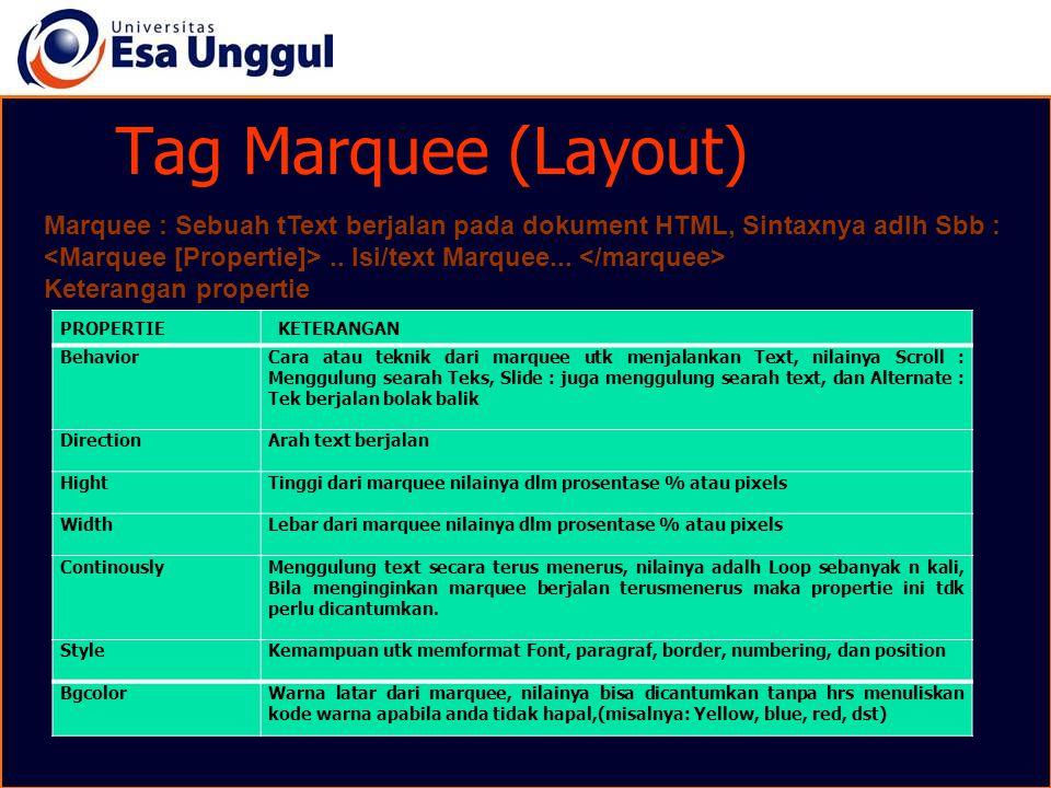 Tag Marquee (Layout) PROPERTIE KETERANGAN Behavior Cara atau teknik dari marquee utk menjalankan Text, nilainya Scroll : Menggulung searah Teks, Slide