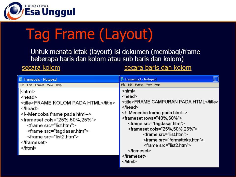 Tag Frame (Layout) Untuk menata letak (layout) isi dokumen (membagi/frame beberapa baris dan kolom atau sub baris dan kolom) secara kolom secara baris