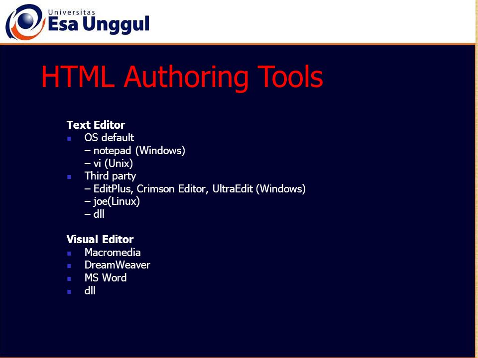 Tag Link (Anchor) Kata yang di-click Kata yang dituju Link = AlamatURL atau nama file dan/atau acuan yang dituju Acuan= Kata sembarang sebagai penanda Membentuk link keURL / file / bagian dokumen lain.