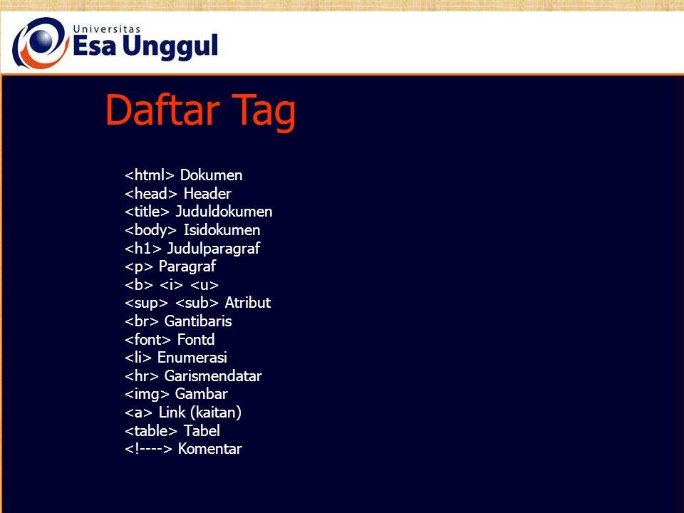Daftar Tag Dokumen Header Juduldokumen Isidokumen Judulparagraf Paragraf Atribut Gantibaris Fontd Enumerasi Garismendatar Gambar Link (kaitan) Tabel K