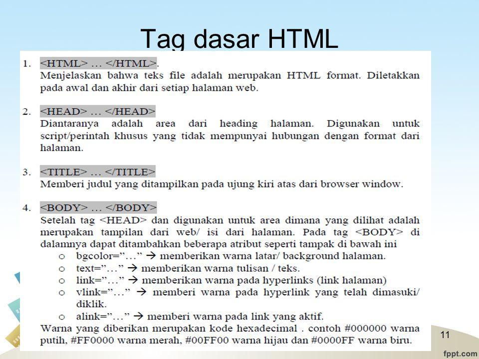 Tag dasar HTML 11