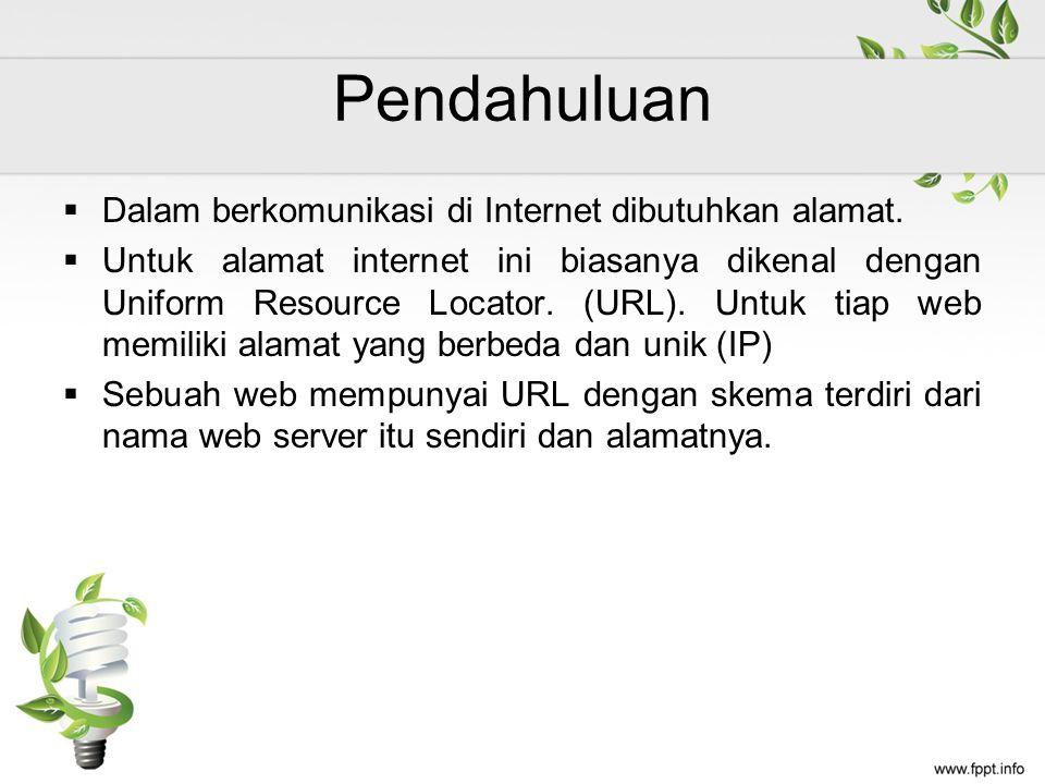 Pendahuluan  Dalam berkomunikasi di Internet dibutuhkan alamat.