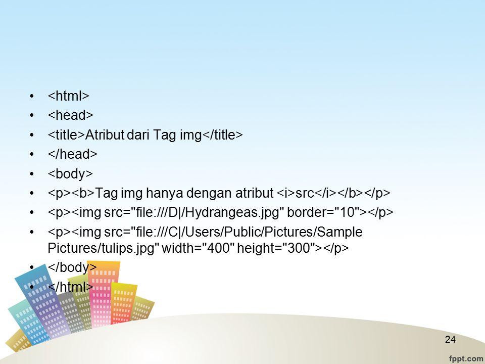 Atribut dari Tag img Tag img hanya dengan atribut src 24