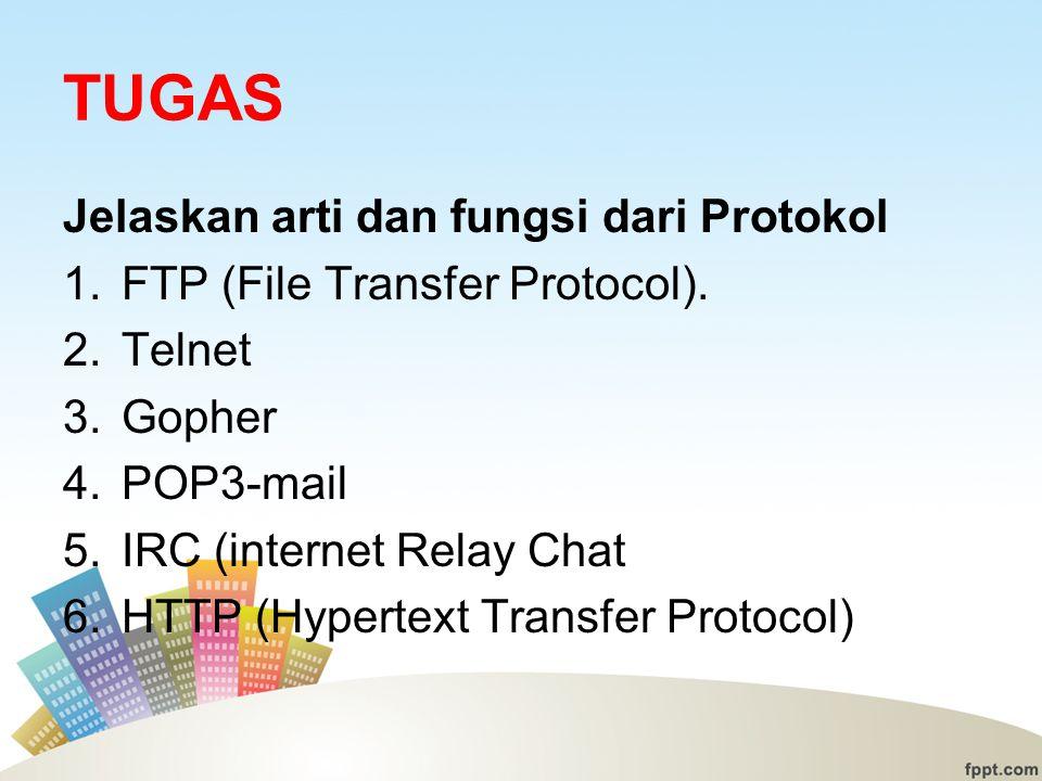 TUGAS Jelaskan arti dan fungsi dari Protokol 1.FTP (File Transfer Protocol).