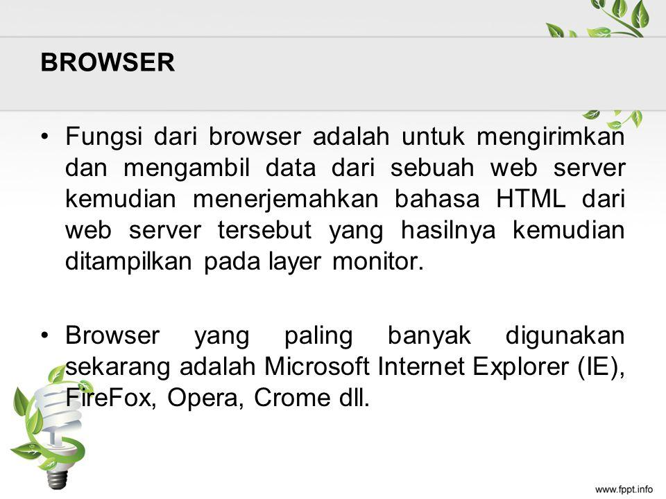 BROWSER Fungsi dari browser adalah untuk mengirimkan dan mengambil data dari sebuah web server kemudian menerjemahkan bahasa HTML dari web server tersebut yang hasilnya kemudian ditampilkan pada layer monitor.