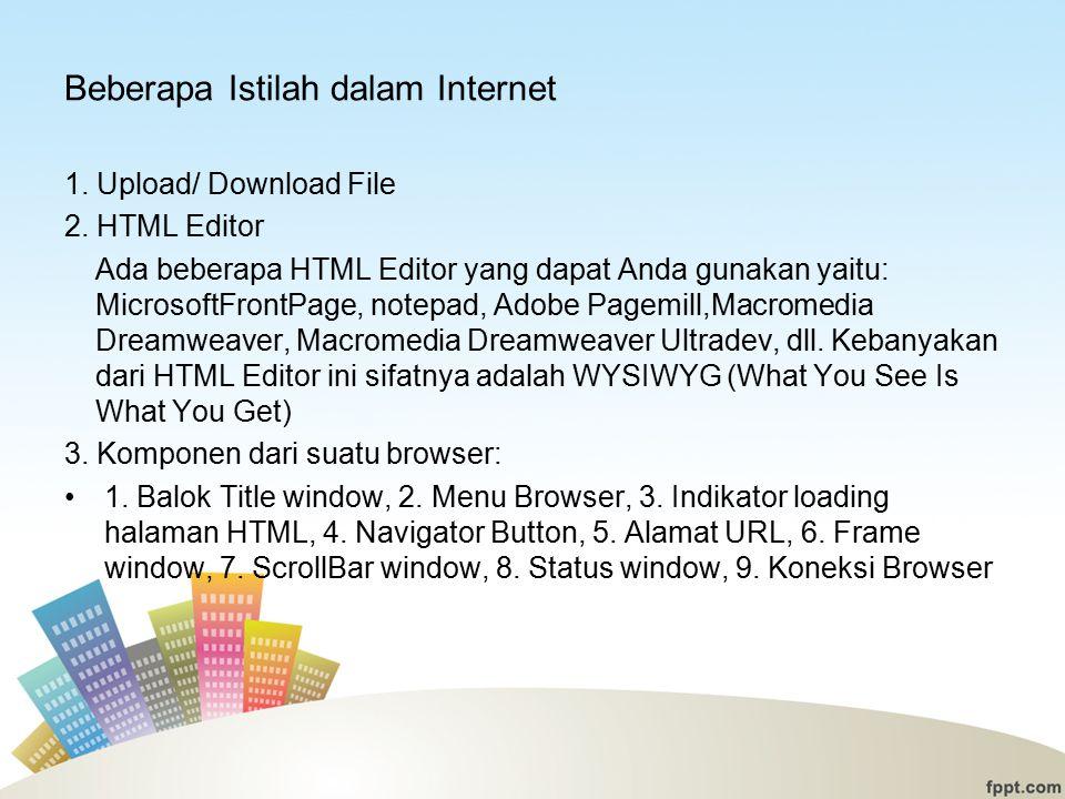 Beberapa Istilah dalam Internet 1.Upload/ Download File 2.