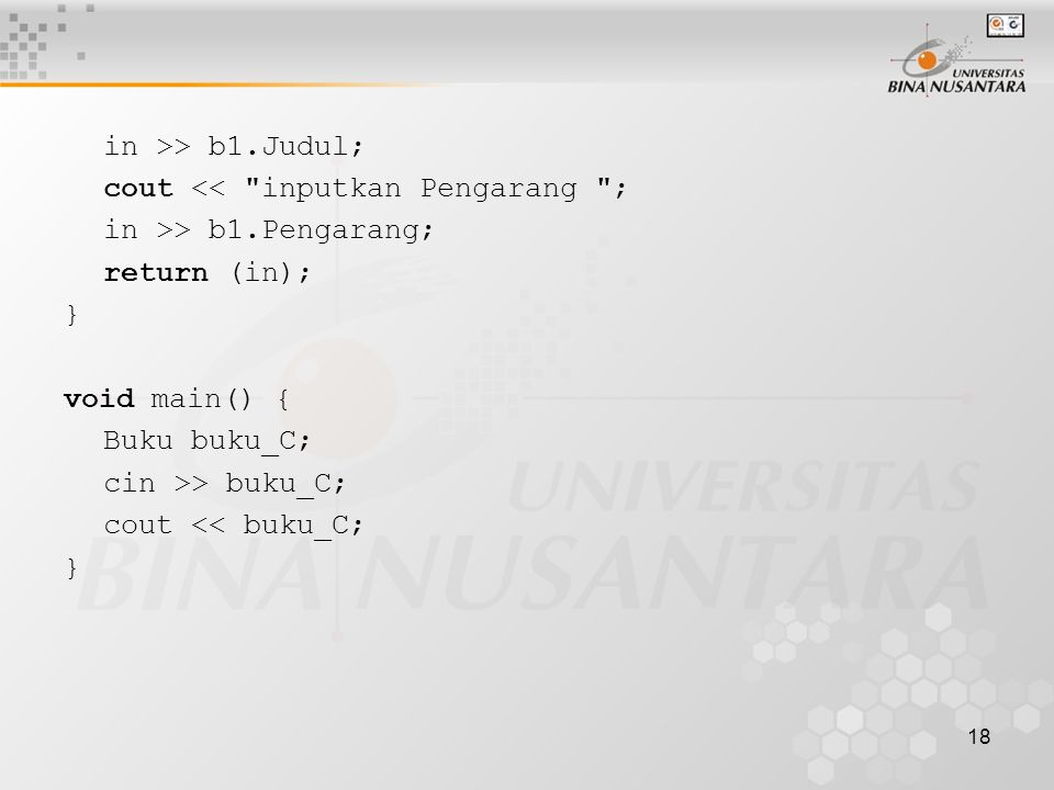 18 in >> b1.Judul; cout <<