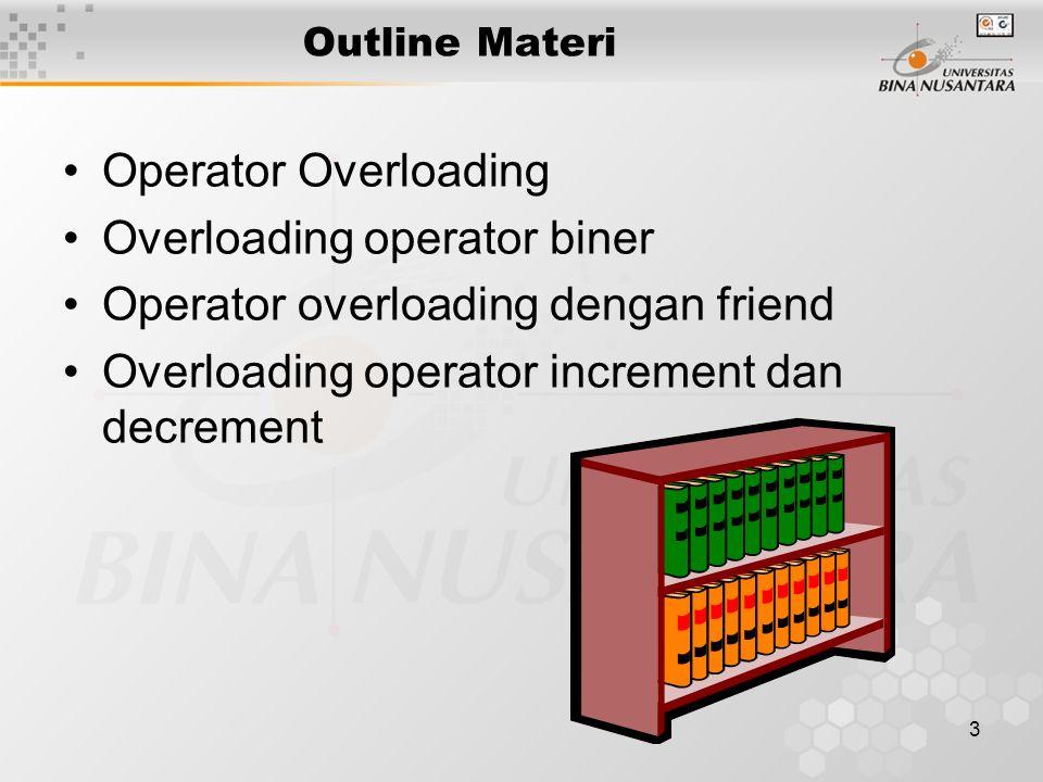 3 Outline Materi Operator Overloading Overloading operator biner Operator overloading dengan friend Overloading operator increment dan decrement