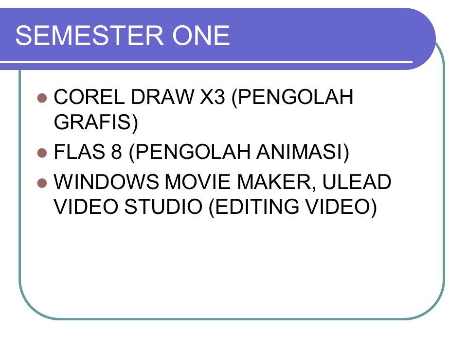 SEMESTER ONE COREL DRAW X3 (PENGOLAH GRAFIS) FLAS 8 (PENGOLAH ANIMASI) WINDOWS MOVIE MAKER, ULEAD VIDEO STUDIO (EDITING VIDEO)