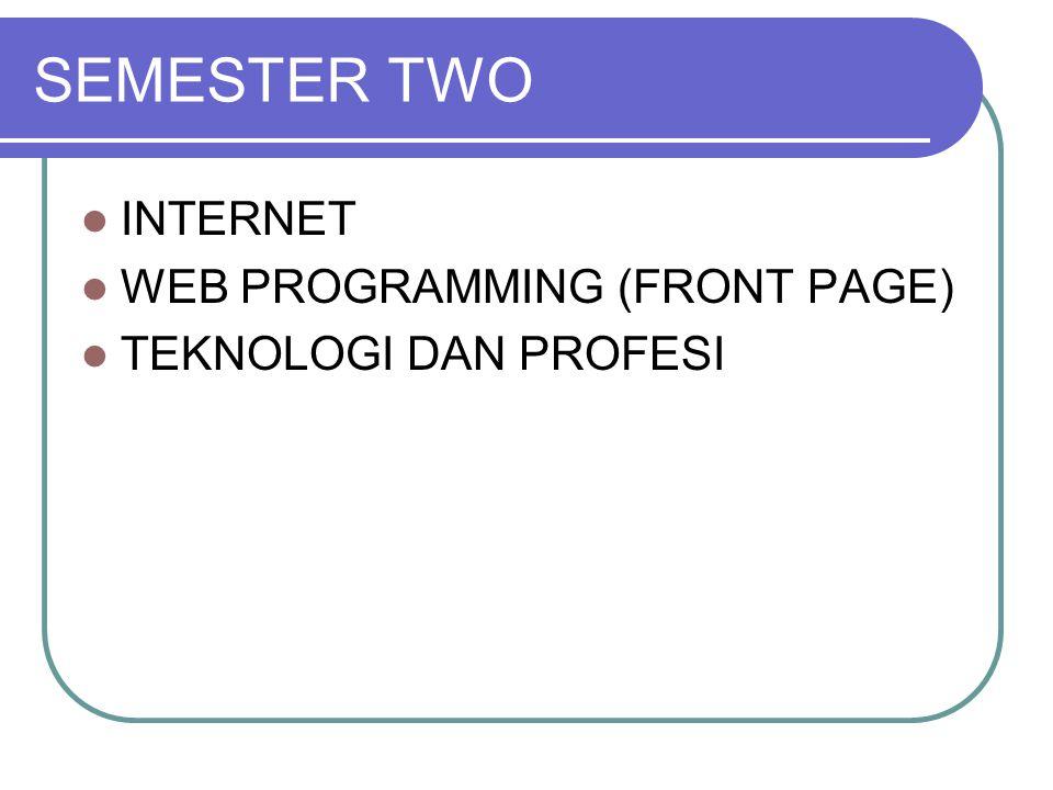 SEMESTER TWO INTERNET WEB PROGRAMMING (FRONT PAGE) TEKNOLOGI DAN PROFESI