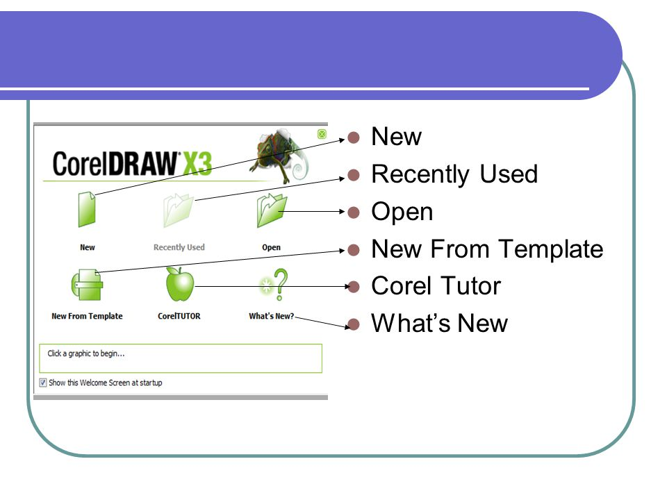 New Recently Used Open New From Template Corel Tutor What's New