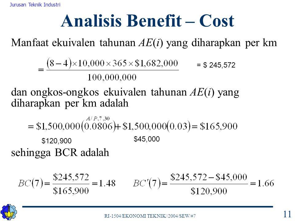 RI-1504/EKONOMI TEKNIK//2004/SEW/#7 Jurusan Teknik Industri 11 Manfaat ekuivalen tahunan AE(i) yang diharapkan per km dan ongkos-ongkos ekuivalen tahu