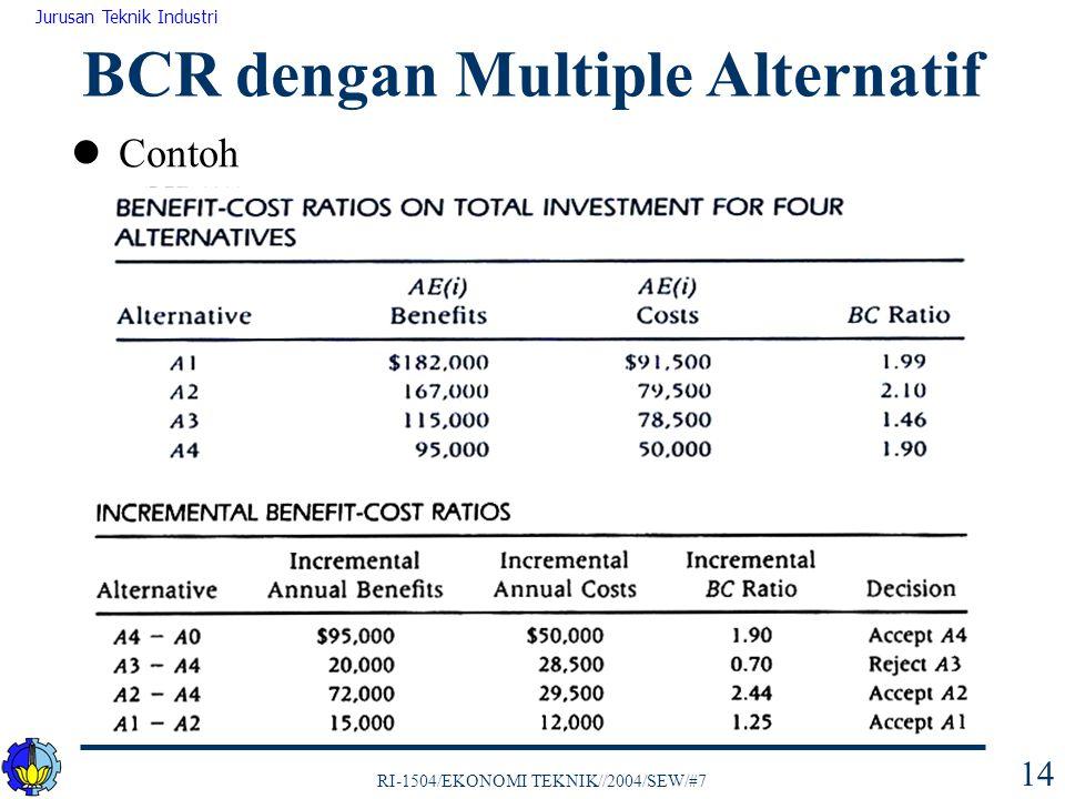 RI-1504/EKONOMI TEKNIK//2004/SEW/#7 Jurusan Teknik Industri 14 Contoh BCR dengan Multiple Alternatif