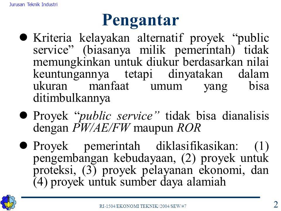 "RI-1504/EKONOMI TEKNIK//2004/SEW/#7 Jurusan Teknik Industri 2 Kriteria kelayakan alternatif proyek ""public service"" (biasanya milik pemerintah) tidak"