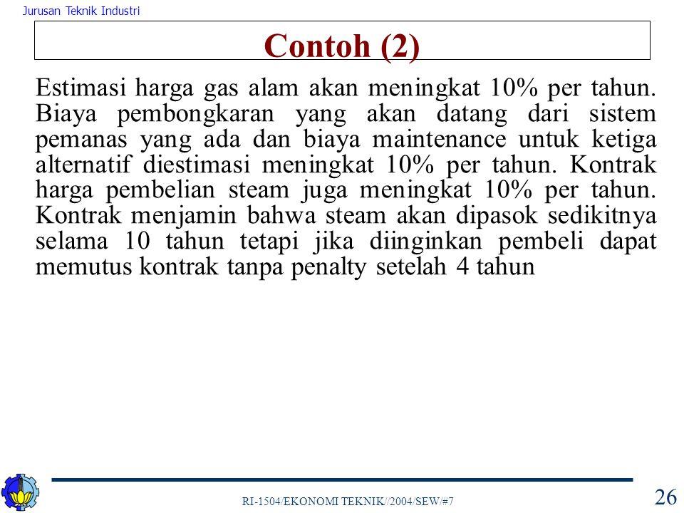 RI-1504/EKONOMI TEKNIK//2004/SEW/#7 Jurusan Teknik Industri 26 Contoh (2) Estimasi harga gas alam akan meningkat 10% per tahun. Biaya pembongkaran yan