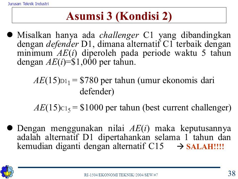 RI-1504/EKONOMI TEKNIK//2004/SEW/#7 Jurusan Teknik Industri 39 Asumsi 3 (Kondisi 2) Dari tabel di atas dapat dilihat keputusan atas dasar nilai AE(i) tidak tepat, dimana D1 menunjukkan bahwa pada periode tahun 3, 4, dan 5 defender merupakan pilihan paling ekonomis  Gunakan nilai PW(i)