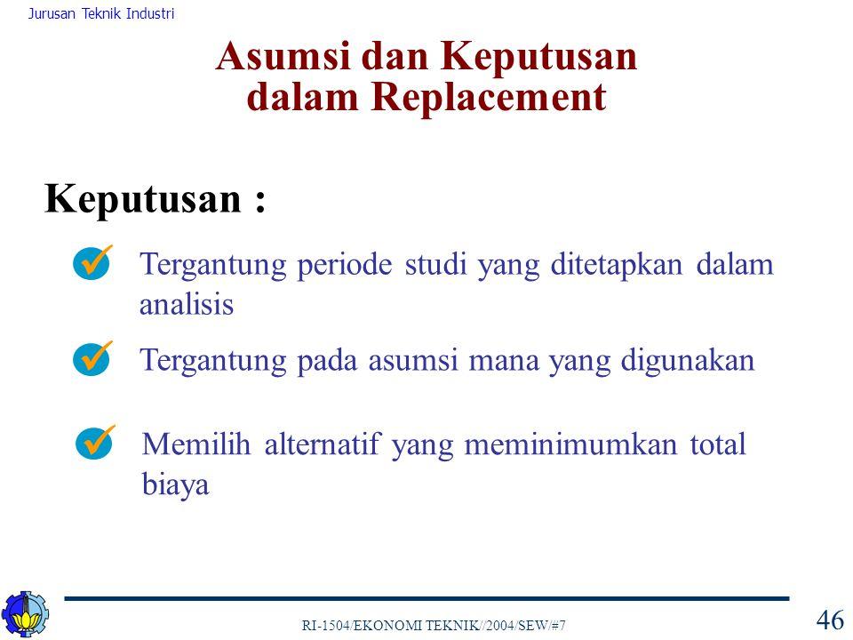 RI-1504/EKONOMI TEKNIK//2004/SEW/#7 Jurusan Teknik Industri 46 Keputusan : Tergantung periode studi yang ditetapkan dalam analisis Tergantung pada asu
