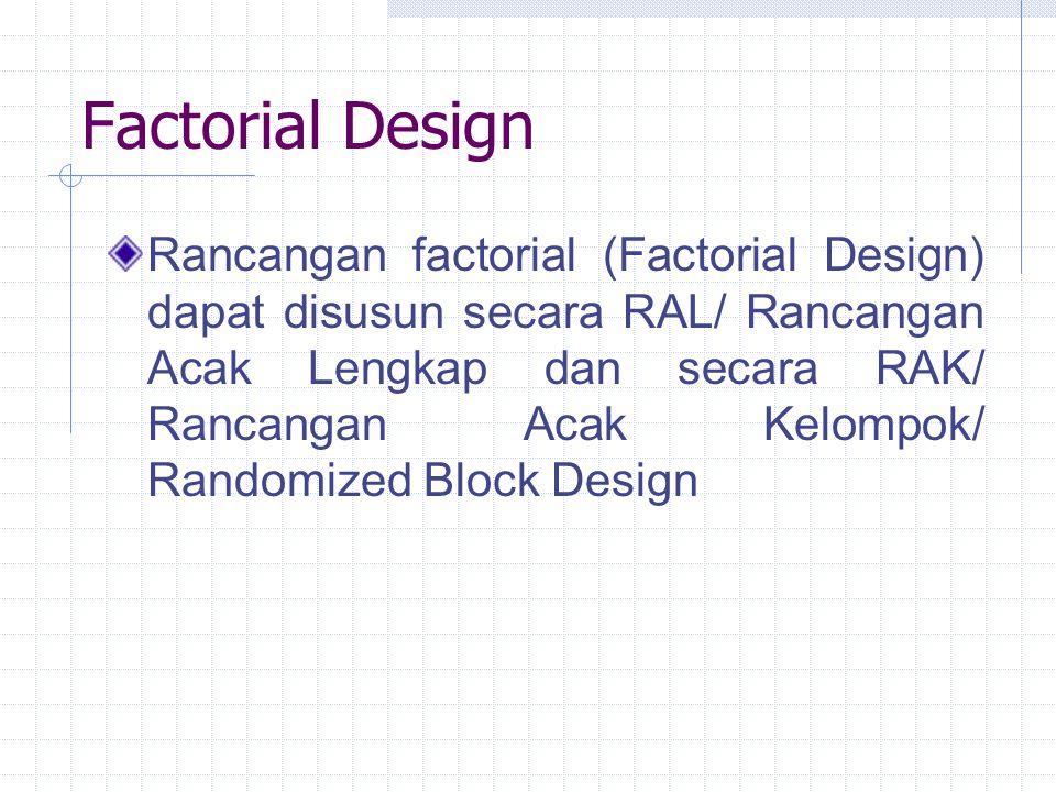 Factorial Design Rancangan factorial (Factorial Design) dapat disusun secara RAL/ Rancangan Acak Lengkap dan secara RAK/ Rancangan Acak Kelompok/ Rand