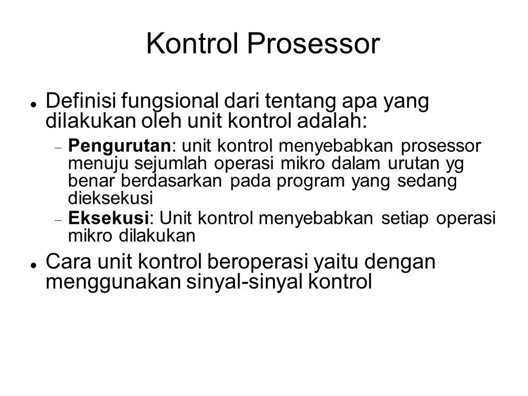 Kontrol Prosessor Definisi fungsional dari tentang apa yang dilakukan oleh unit kontrol adalah:  Pengurutan: unit kontrol menyebabkan prosessor menuj