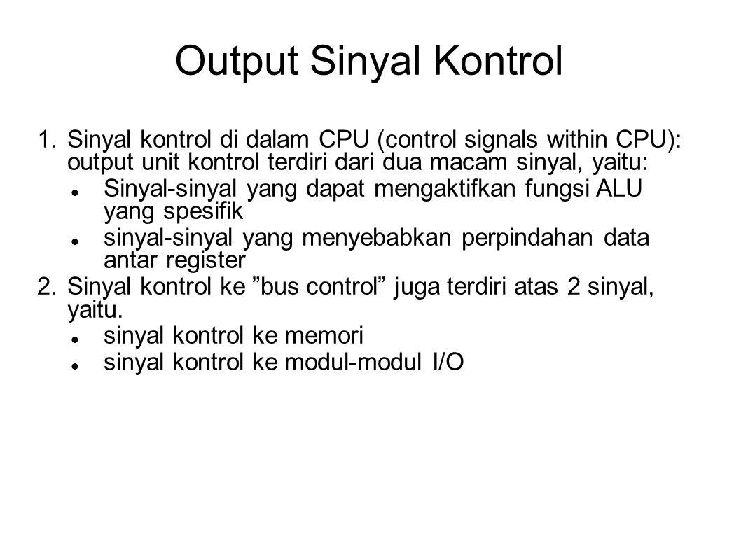 Output Sinyal Kontrol 1. Sinyal kontrol di dalam CPU (control signals within CPU): output unit kontrol terdiri dari dua macam sinyal, yaitu: Sinyal-si