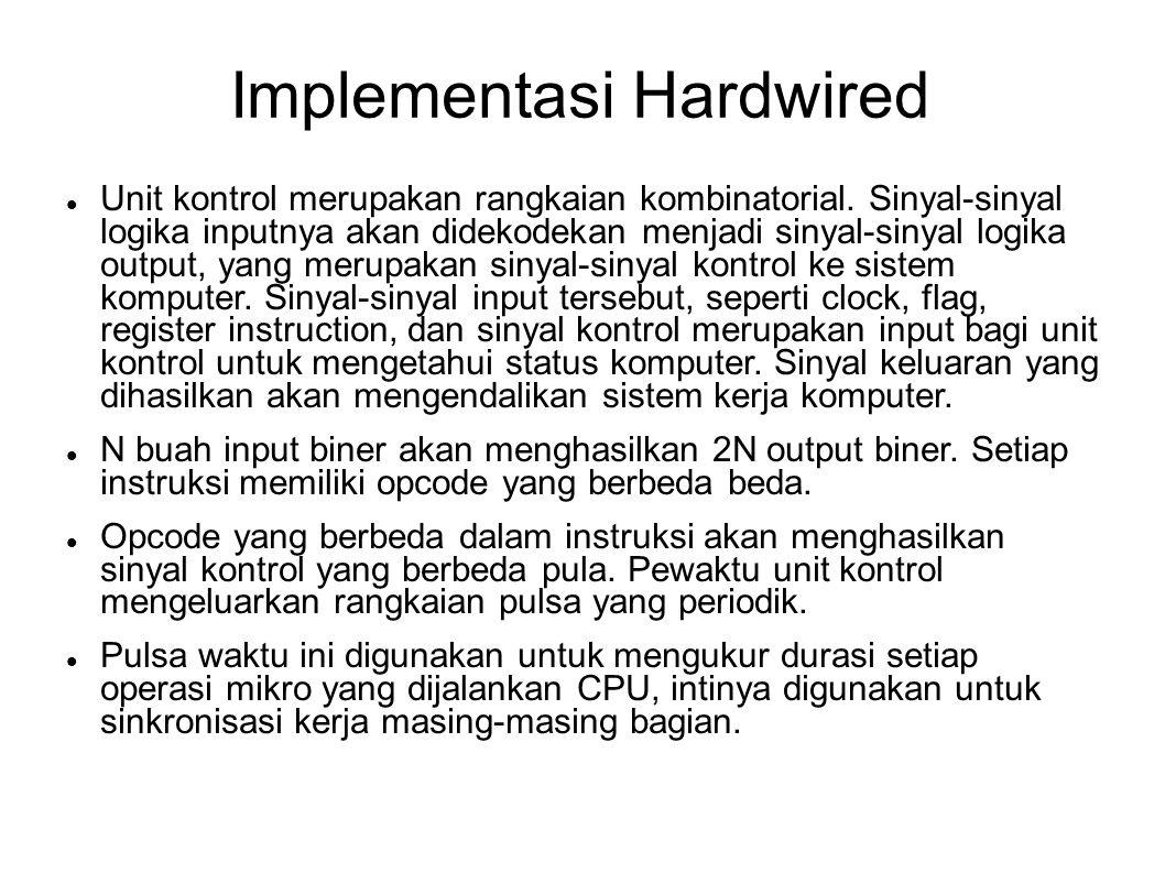 Implementasi Hardwired Unit kontrol merupakan rangkaian kombinatorial. Sinyal-sinyal logika inputnya akan didekodekan menjadi sinyal-sinyal logika out