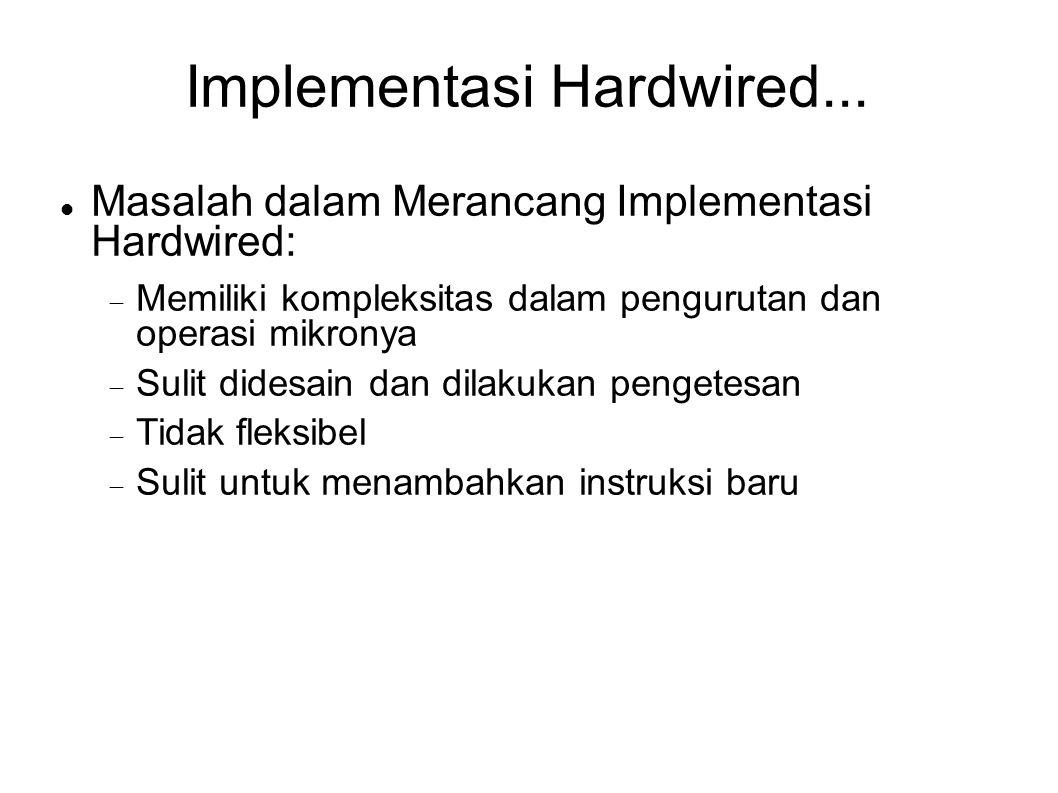 Implementasi Hardwired... Masalah dalam Merancang Implementasi Hardwired:  Memiliki kompleksitas dalam pengurutan dan operasi mikronya  Sulit didesa