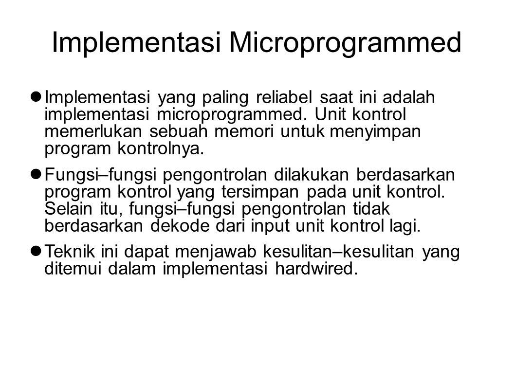 Implementasi Microprogrammed Implementasi yang paling reliabel saat ini adalah implementasi microprogrammed. Unit kontrol memerlukan sebuah memori unt