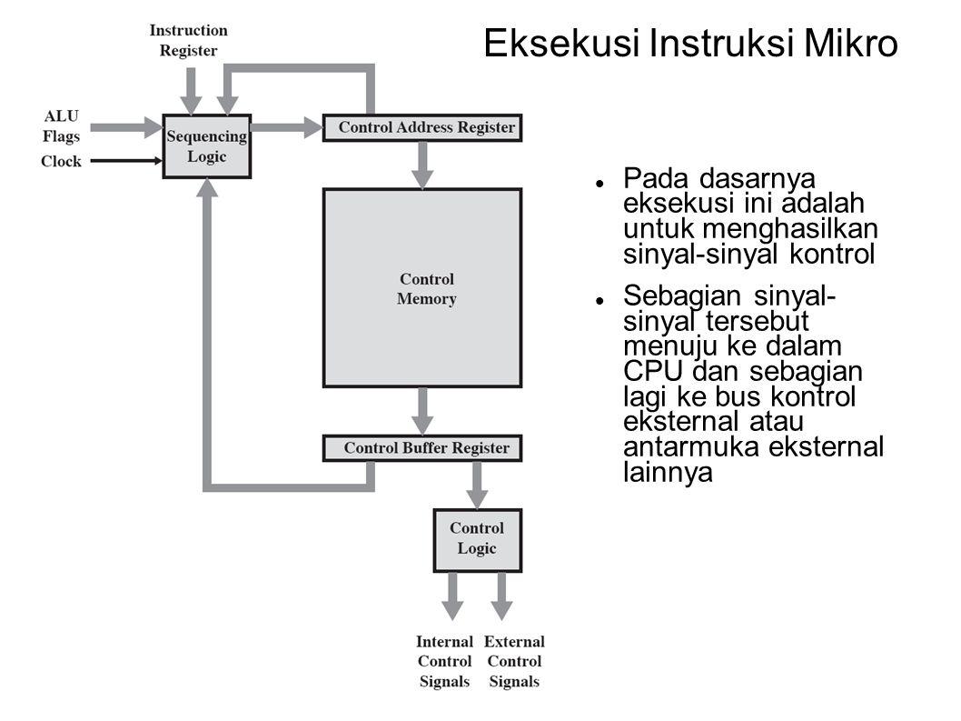 Eksekusi Instruksi Mikro Pada dasarnya eksekusi ini adalah untuk menghasilkan sinyal-sinyal kontrol Sebagian sinyal- sinyal tersebut menuju ke dalam C