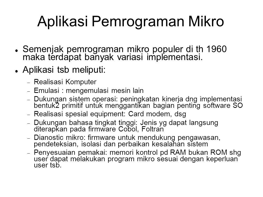 Aplikasi Pemrograman Mikro Semenjak pemrograman mikro populer di th 1960 maka terdapat banyak variasi implementasi. Aplikasi tsb meliputi:  Realisasi
