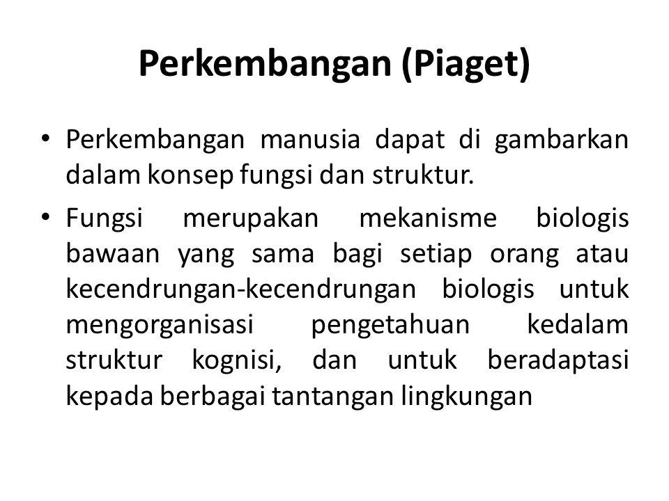 Perkembangan (Piaget) Perkembangan manusia dapat di gambarkan dalam konsep fungsi dan struktur.