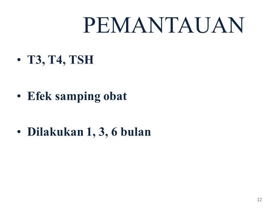 PEMANTAUAN T3, T4, TSH Efek samping obat Dilakukan 1, 3, 6 bulan 12