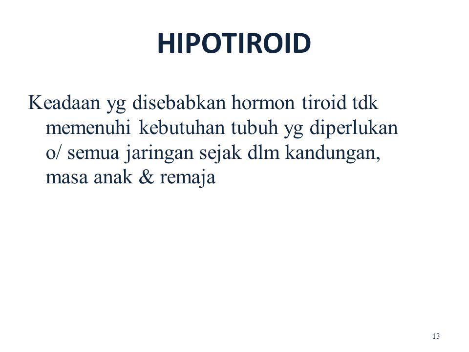 HIPOTIROID Keadaan yg disebabkan hormon tiroid tdk memenuhi kebutuhan tubuh yg diperlukan o/ semua jaringan sejak dlm kandungan, masa anak & remaja 13