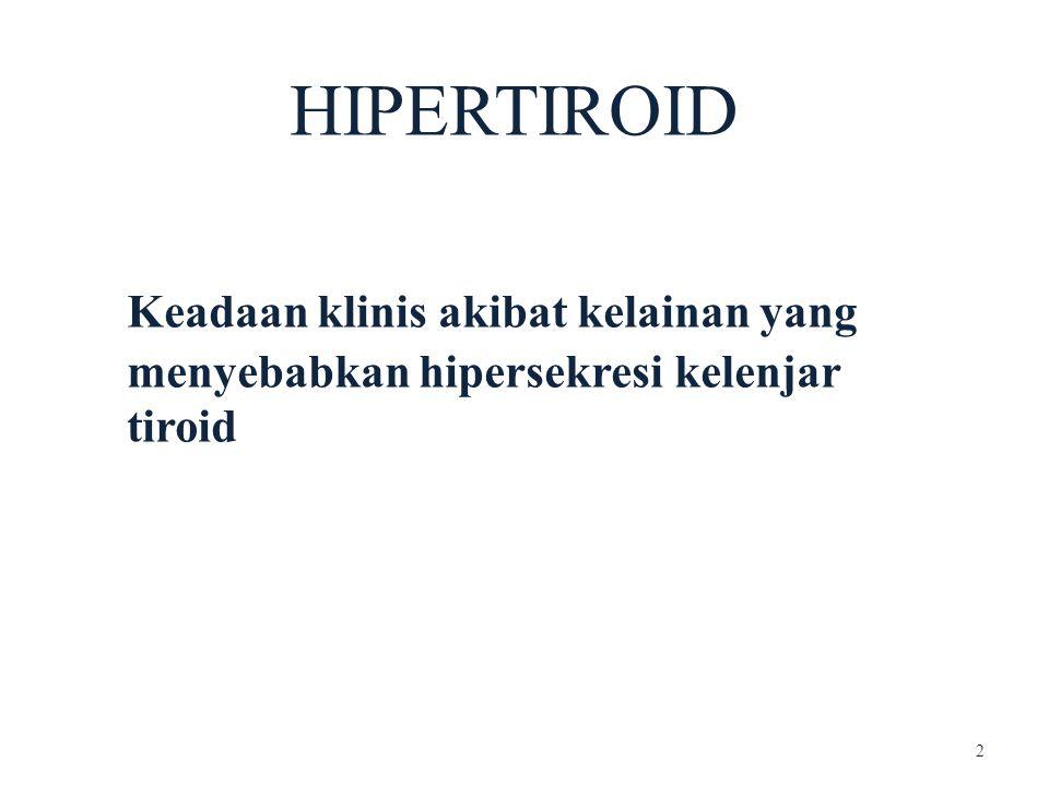 ETIOLOGI Hipertiroid pd Anak Penyakit Graves: 95% kasus hipertiroid pd anak Ratio male:female 1 : 3 - 6 Peak incidence (anak): 10 - 15 thn Tiroiditis Fever & nyeri pd kelenjar Tiroid Iodine Induced Hipertiroid 3