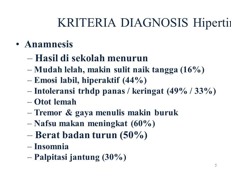 KRITERIA DIAGNOSIS Hipertiroid Anamnesis – Hasil di sekolah menurun – Mudah lelah, makin sulit naik tangga (16%) – Emosi labil, hiperaktif (44%) – Int