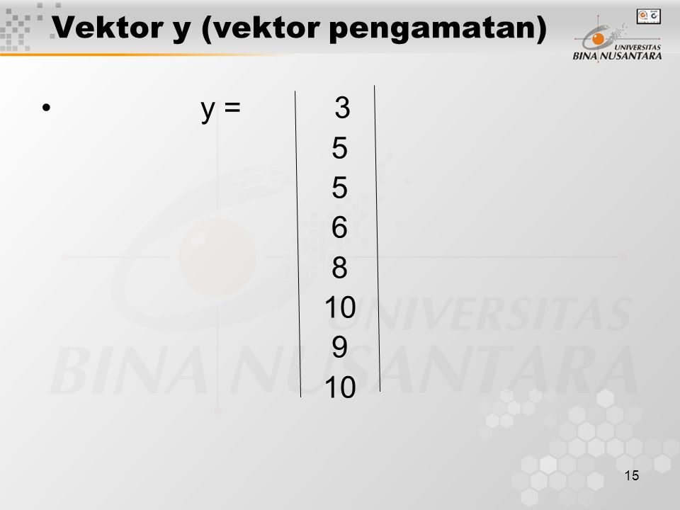 15 Vektor y (vektor pengamatan) y = 3 5 6 8 10 9 10
