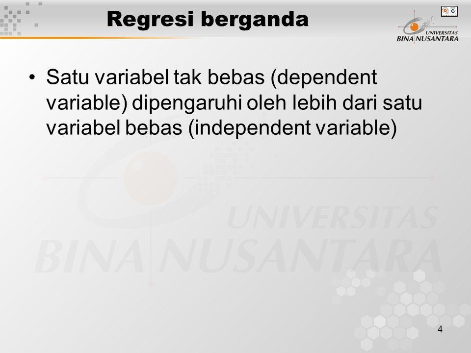 4 Regresi berganda Satu variabel tak bebas (dependent variable) dipengaruhi oleh lebih dari satu variabel bebas (independent variable)