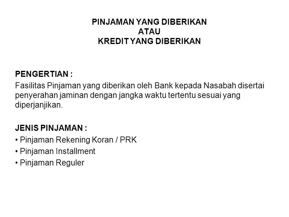 PINJAMAN YANG DIBERIKAN ATAU KREDIT YANG DIBERIKAN PENGERTIAN : Fasilitas Pinjaman yang diberikan oleh Bank kepada Nasabah disertai penyerahan jaminan