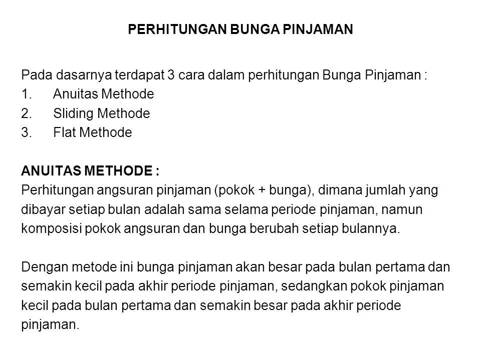 PERHITUNGAN BUNGA PINJAMAN Pada dasarnya terdapat 3 cara dalam perhitungan Bunga Pinjaman : 1.Anuitas Methode 2.Sliding Methode 3.Flat Methode ANUITAS