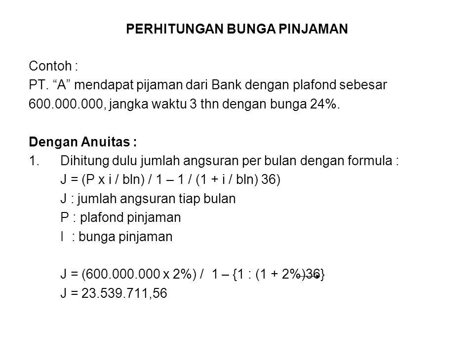 "PERHITUNGAN BUNGA PINJAMAN Contoh : PT. ""A"" mendapat pijaman dari Bank dengan plafond sebesar 600.000.000, jangka waktu 3 thn dengan bunga 24%. Dengan"
