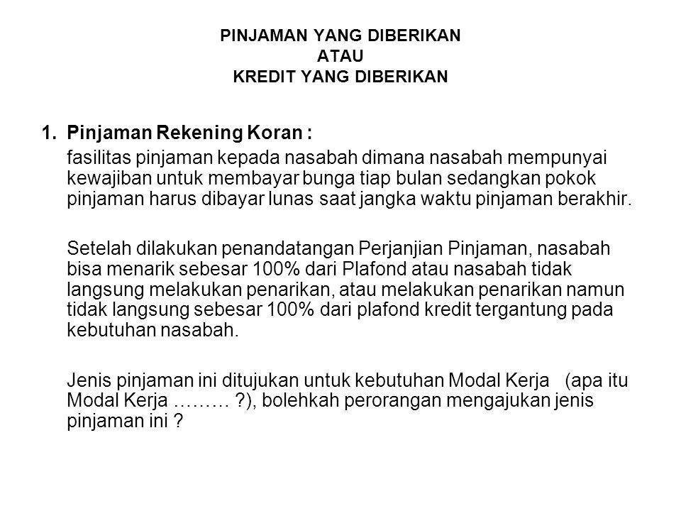 PT.B mendapat fasilitas Pinjaman Installment dari Bank Perbanas dengan Palfong sebesar Rp.