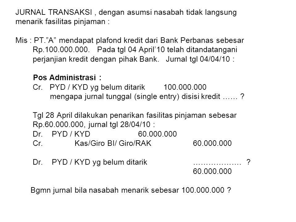 JURNAL TRANSAKSI, dengan asumsi nasabah menarik langsung Sebesar plafond kredit : Mis : PT. A mendapat plafond kredit dari Bank Perbanas sebesar Rp.100.000.000.