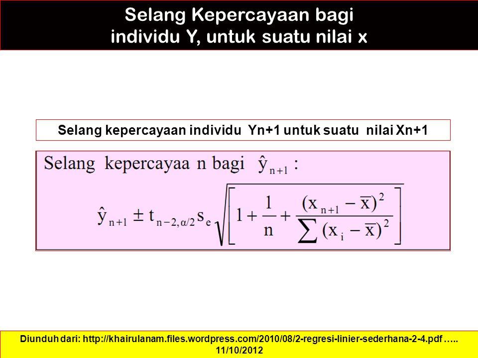 Selang Kepercayaan bagi individu Y, untuk suatu nilai x Selang kepercayaan individu Yn+1 untuk suatu nilai Xn+1 Diunduh dari: http://khairulanam.files.wordpress.com/2010/08/2-regresi-linier-sederhana-2-4.pdf …..