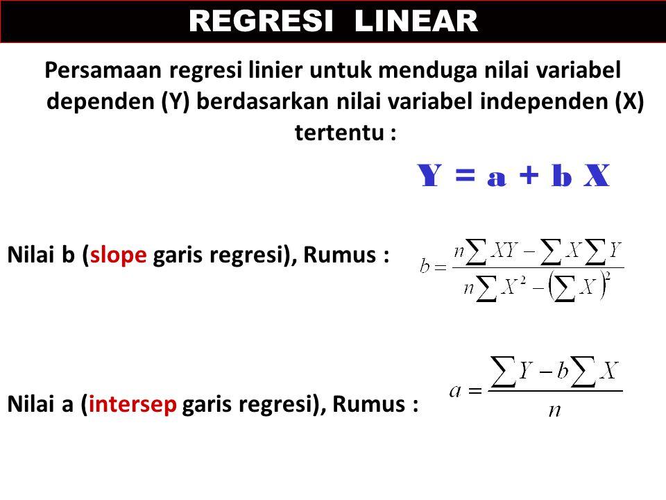 Persamaan regresi linier untuk menduga nilai variabel dependen (Y) berdasarkan nilai variabel independen (X) tertentu : Y = a + b X Nilai b (slope garis regresi), Rumus : Nilai a (intersep garis regresi), Rumus : REGRESI LINEAR