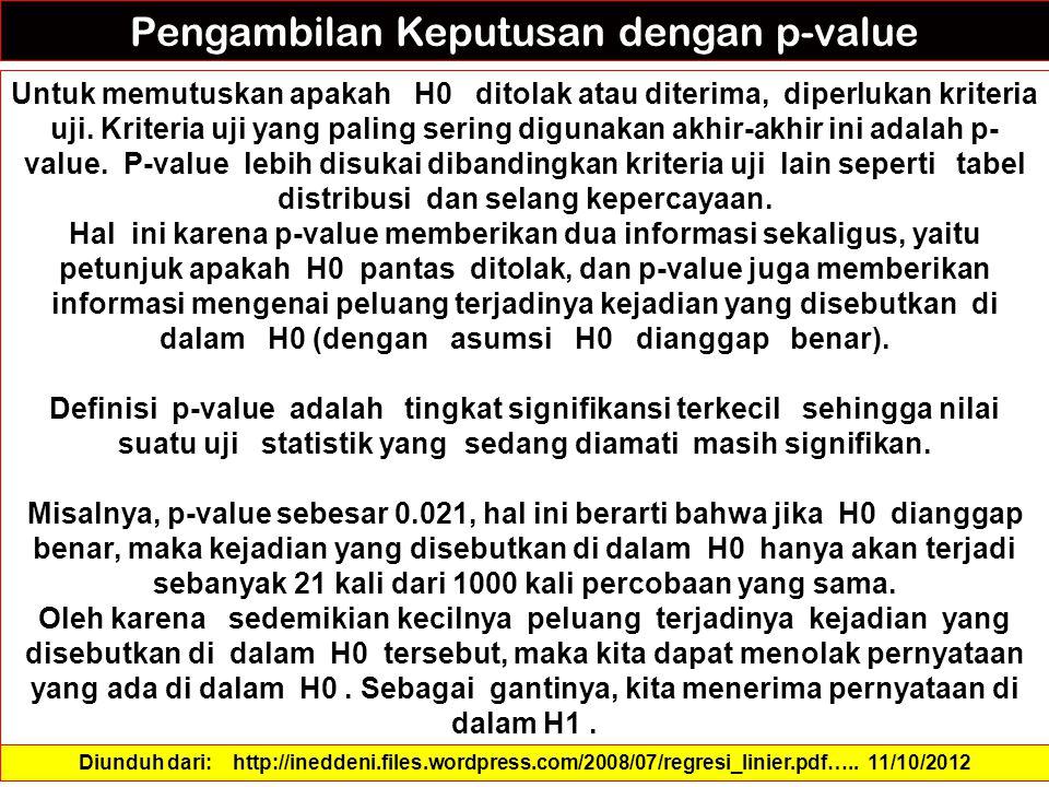 Pengambilan Keputusan dengan p-value Untuk memutuskan apakah H0 ditolak atau diterima, diperlukan kriteria uji.