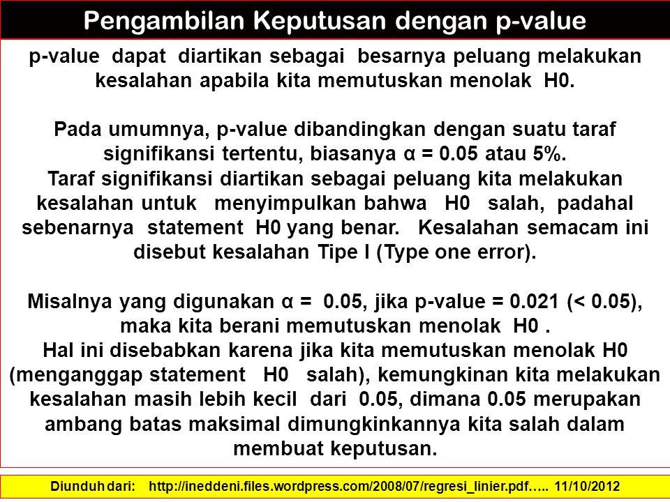 p-value dapat diartikan sebagai besarnya peluang melakukan kesalahan apabila kita memutuskan menolak H0.