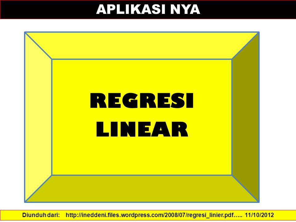 APLIKASI NYA Diunduh dari: http://ineddeni.files.wordpress.com/2008/07/regresi_linier.pdf…..