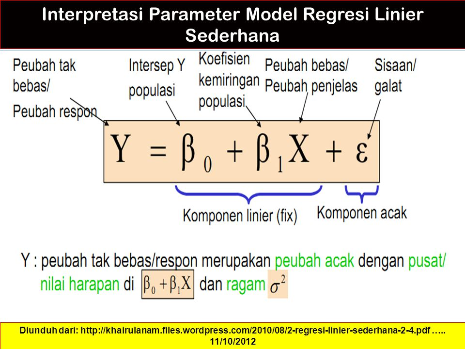 Interpretasi Parameter Model Regresi Linier Sederhana Diunduh dari: http://khairulanam.files.wordpress.com/2010/08/2-regresi-linier-sederhana-2-4.pdf …..