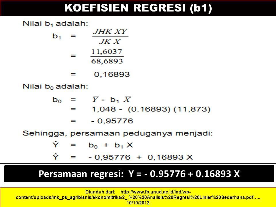KOEFISIEN REGRESI (b1) Diunduh dari: http://www.fp.unud.ac.id/ind/wp- content/uploads/mk_ps_agribisnis/ekonomitrika/2_.%20%20Analisis%20Regresi%20Linier%20Sederhana.pdf…..